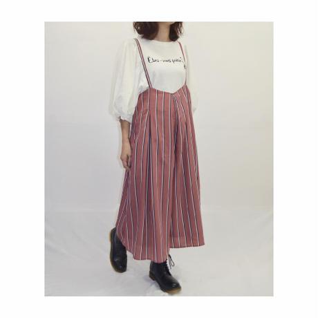 【Rydia】レトロストライプサス付きスカーチョ
