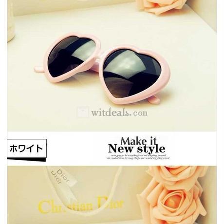 ハート型サングラス UVA/UVBカット 男女兼用 カラーフレームメガネ 可愛い ファッション