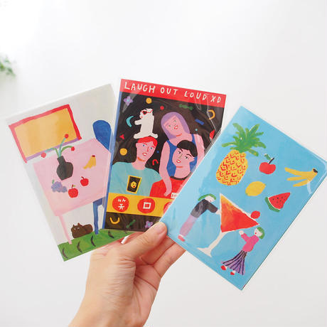 Stay Positive Postcard Set / 前向きに・ハガキ4枚セット
