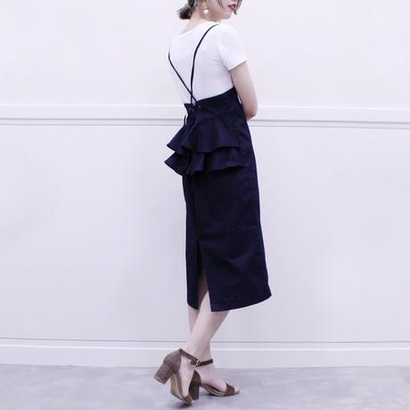 #タイトカットソーに合わせたい2WAYバックフリルサロペットスカート 品番:1137402 カラー:ミッドナイト