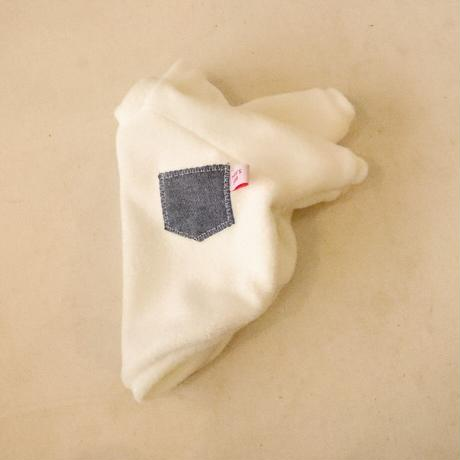 モッサーパイル(ホワイト×デニムポケット)