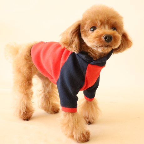 Color matching cross neck knit(Red×Navy)