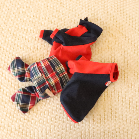 Color matching knit(Navy×Red)