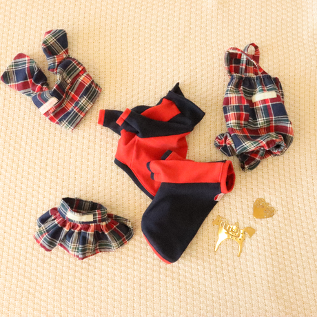 Check rompers(Navy×Red×Green)