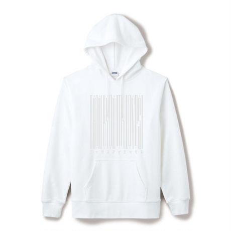 【Square】ポケット付きThanksBarcodeHoodie  ホワイト×ホワイト