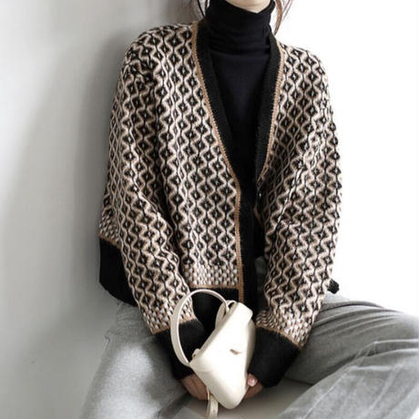 black pattern cardigan