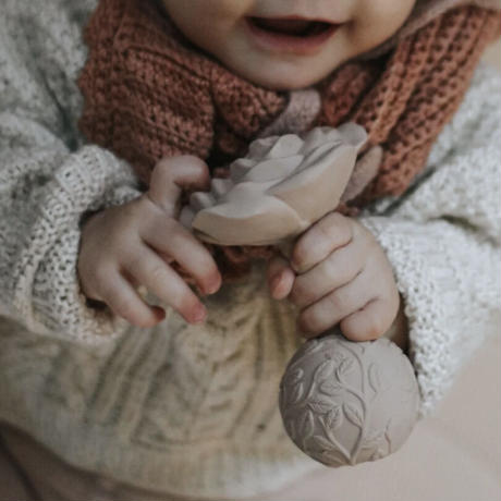 natural teether (rattle) rose