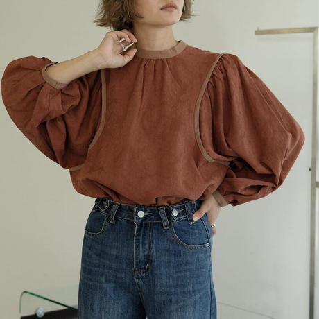 bicolor piping blouse