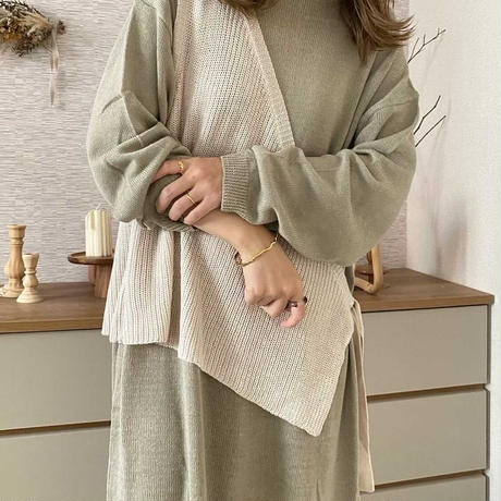 layered knit onepiece (with vest)