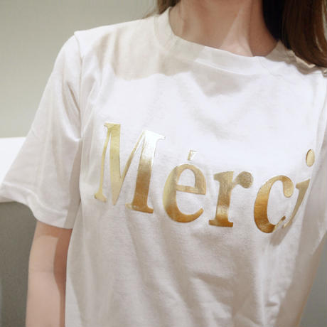 【即納】Merci tee(white/blue/black)