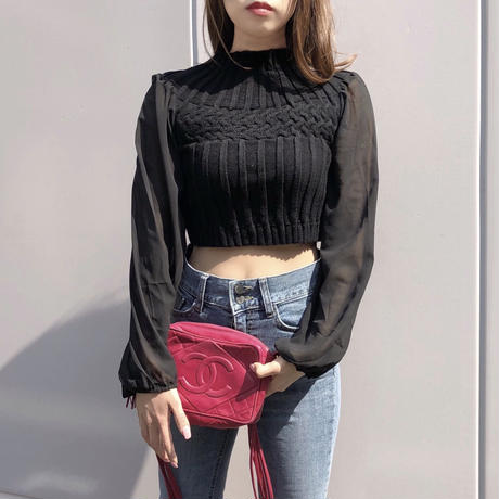 chiffon sleeve knit / black