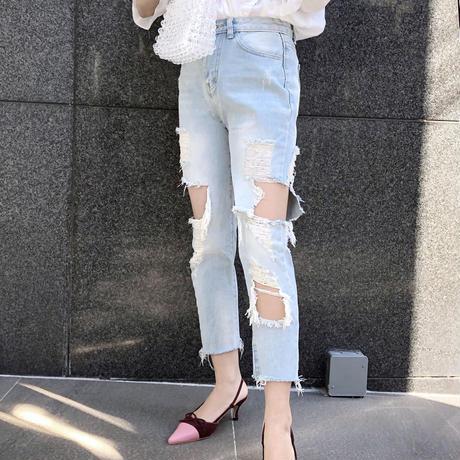 【予約】chic damage jeans