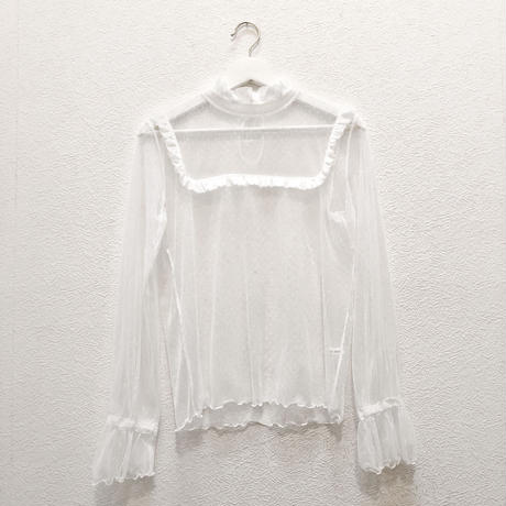 sheer dot BL / white