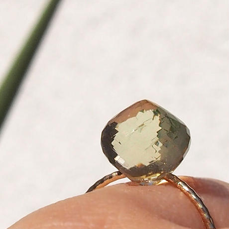 K10 candy ring  -  Lemon quartz-