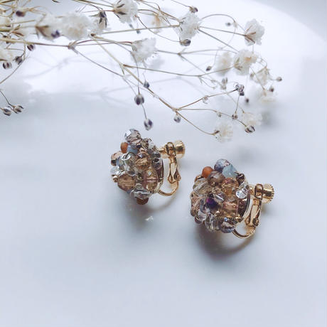 Beas bijou earrings / orange 【A-03】
