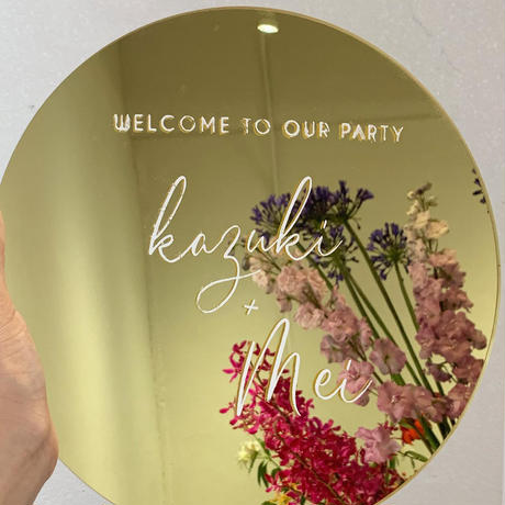 circle welcomeboard + bouquet ゴールドミラー (スワッグタイプ)