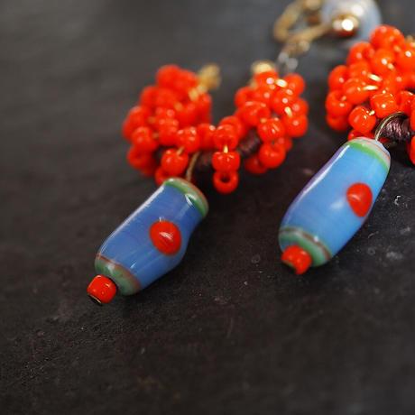 India grass pierce/earrings -orange-