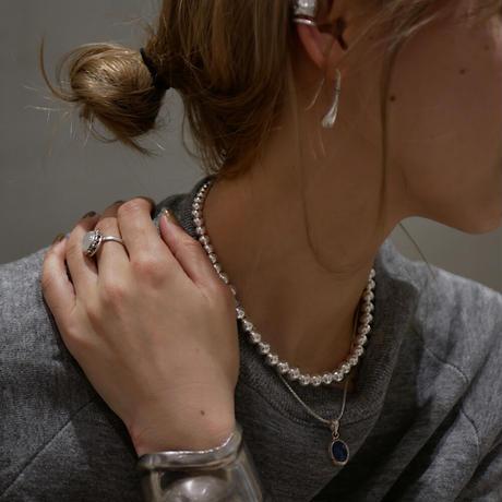 silver bubble short necklace