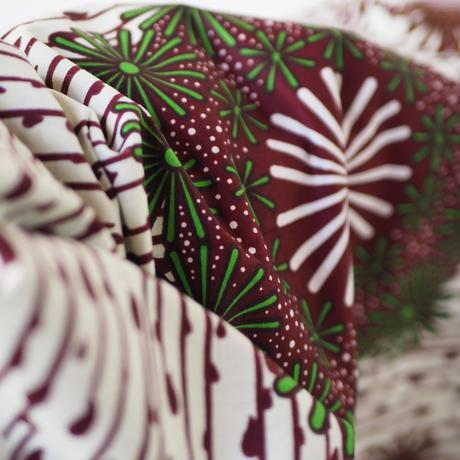 batik kaftan -white×green×brown-