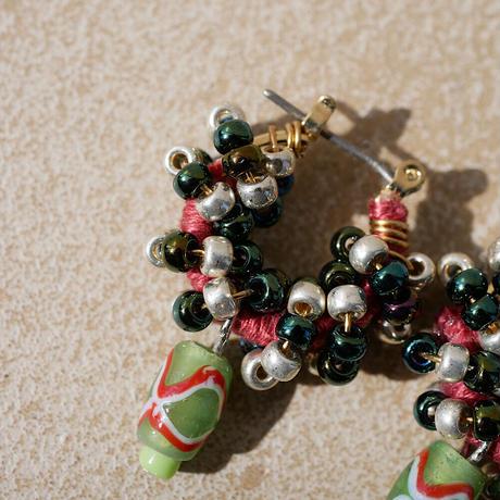 India grass pierce/earrings -mix green-
