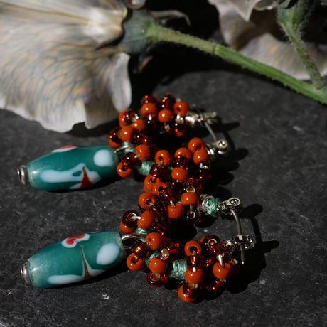 India grass pierce/earrings -terracotta-