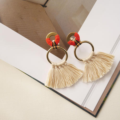 fringe pierce/earrings ORANGE