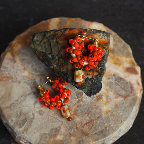 India grass pierce/earrings -orange×brown -
