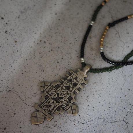 Ethiopian cross necklace -dark green-