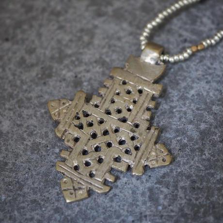 Ethiopian cross necklace -gold/silver B-