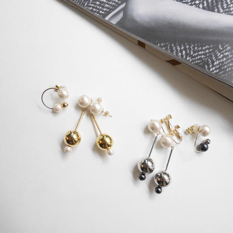 meatl ball pierce/earrings BLACK