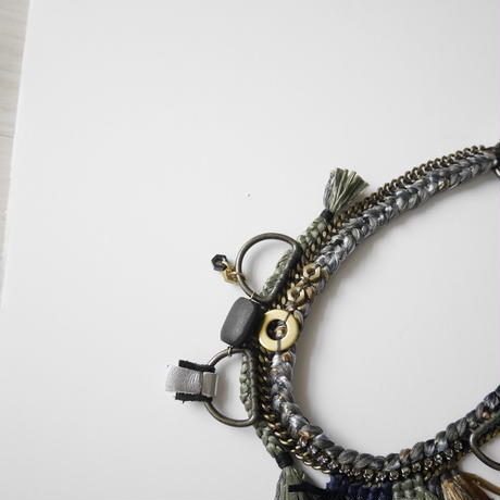 pulp fringe long necklace GRAY