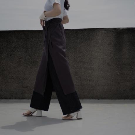 pocket wrap skirt -mocha-