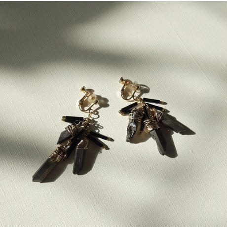 stem pierce/earrings BLACK