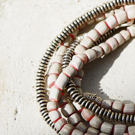 seeds double necklace stripe-white-