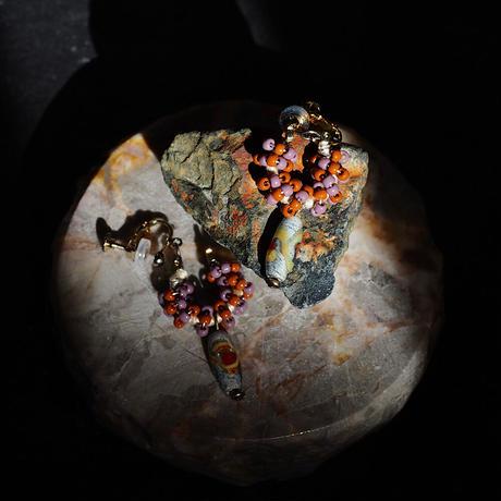 India grass pierce/earrings -mauve×brown -
