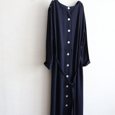 BACK OPEN COLLARLESS RAYON DRESS