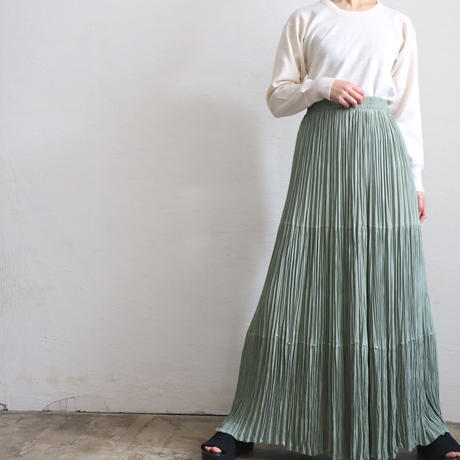 1980'S MADE IN TEXAS PLEATED RAYON MAXI SKIRT