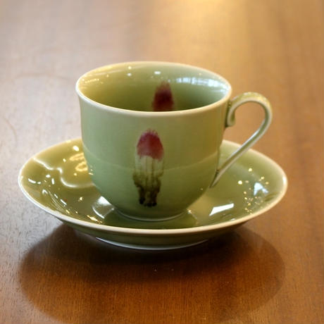 天龍寺青磁花片紋新コーヒー碗皿 真右衛門