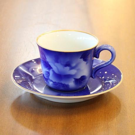 吹牡丹ルリコーヒー碗皿