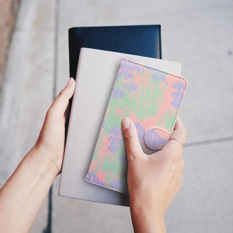 【しあわせ和柄スマホケース 手帳型】菖蒲 <iPhone専用ケース固定タイプ・Android粘着テープ固定タイプ>
