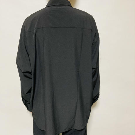 水彩画フラワーBIGシャツ(ブラック)