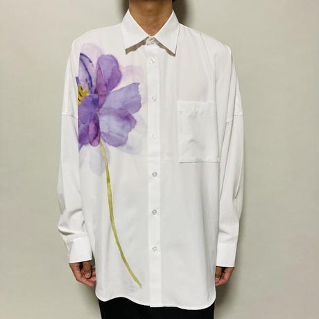 水彩画フラワーBIGシャツ(ホワイト)