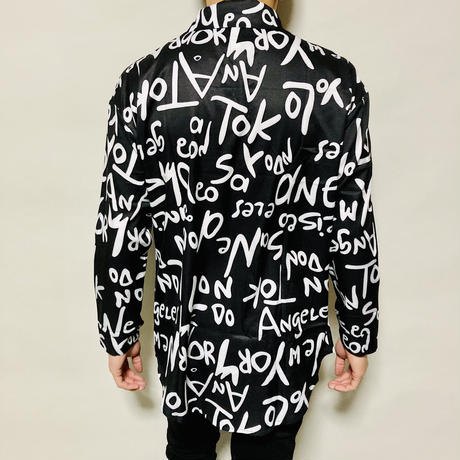 英字総柄デザインシャツ