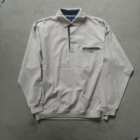 90s TOMMY HILFIGER L/S Polo Shirt BEG