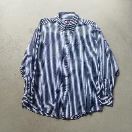 90s TOMMY HILFIGER Stripe L/S Shirt BLU