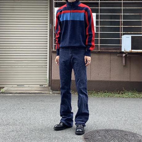 ~90s acryl knit high neck jog top NVY