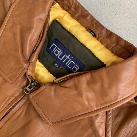90s NAUTICA Leather Jacket BRN