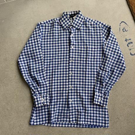 80s~ gingham check shirt BLU
