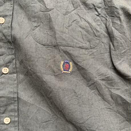 90s  tommy hirfiger cotton linen shirt S/S KHK