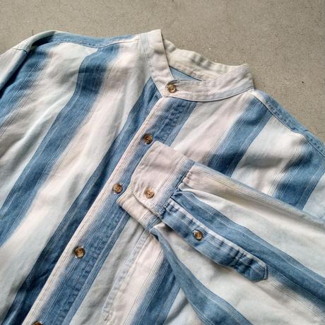 80s COLISEUMBLUES Band Collar L/S Stripe Shirt
